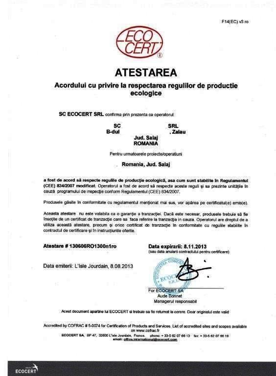 Atestare-ECOCERT-2013